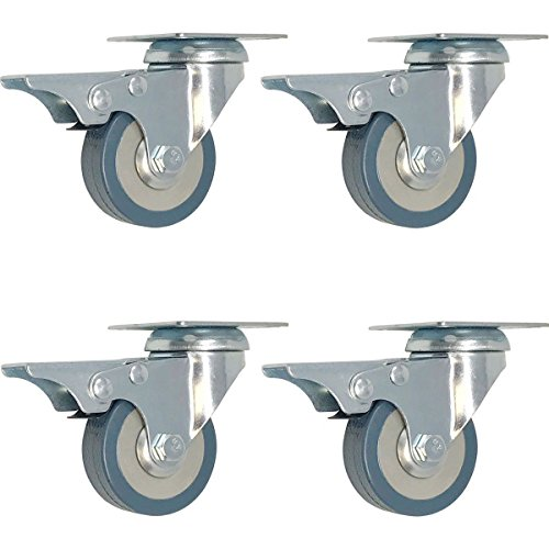 4 pack 2-Inch Swivel Lock Brake Polyurethane Plate Caster by Online Best Service
