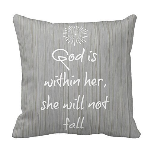 NicholasCGShopOnline C7841F Cotton Linen Decorative Throw Pillow Case Cushion Cover White Bible Verse On Gray Wood 18 X18