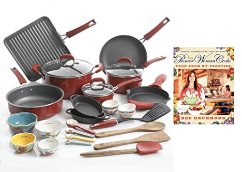 "The Pioneer Woman Ultimate Bundle with 30-Piece Cookware Set and Hardcover Edition of ""The Pioneer Woman Cooks: Food from My Frontier"" Cookbook by Ree Drummond (Red)"