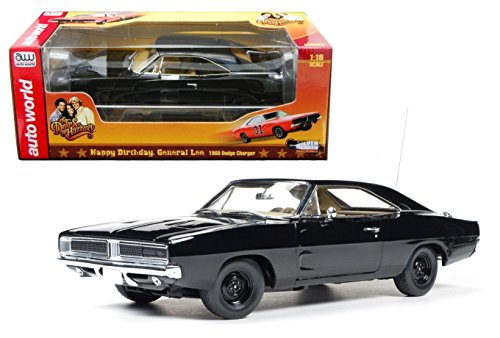 New 1:18 AUTO WORLD COLLECTION - BLACK COLOR 1969 DODGE CHARGER GENERAL LEE