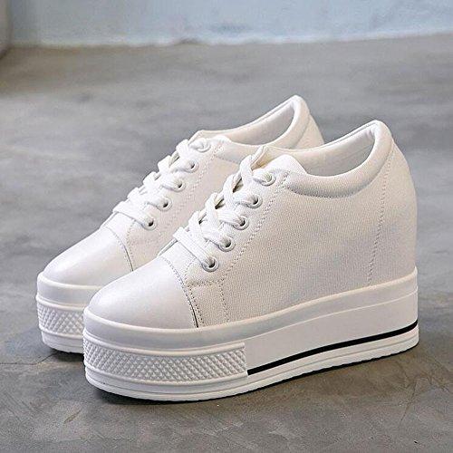 KHSKX-Coreano Marea Zapatos Blancos Zapatos De Plataforma Zapatos De Lona Tacones Altos Aumento De 10Cm Ocio Mujeres Zapato Treinta Y Ocho Thirty-nine