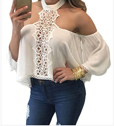 peggynco-womens-white-chocker-neck-bare-shoulders-flare-crop-top-size-s