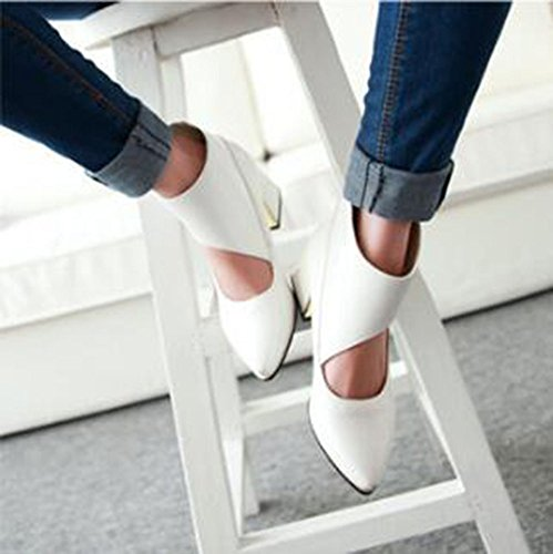 CHFSO Womens Sexy Velcro Solid Pointed Toe Metal Decoration Hollow Out Mid Chunky Heel Pumps Shoes White Y9JmmA