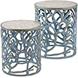 Imax 60336-2 Coral Mother of Pearl Tables (Set of 2)