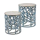 IMAX 60336-2 Coral Mother of Pearl Tables (Set of 2) For Sale
