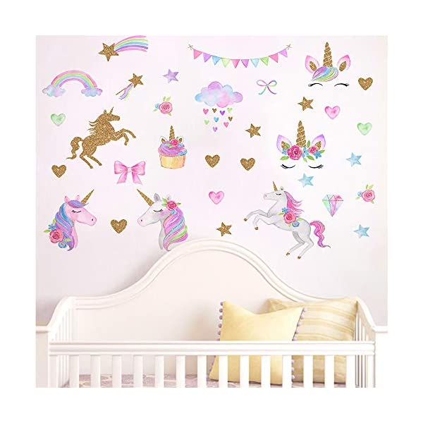MLM Unicorn Wall Decals, Unicorn Wall Sticker Decor with Heart Flower for Kids Rooms Birthday Gifts for Girls Boys Bedroom Nursery Home Party Home Decor 6