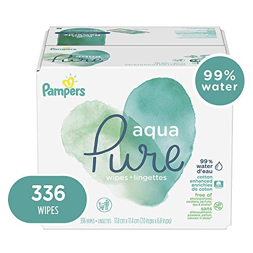 Baby Wipes, Pampers Aqua Pure Sensitive Water Baby Diaper Wipes, Hypoallergenic and Unscented, 336 Total ()