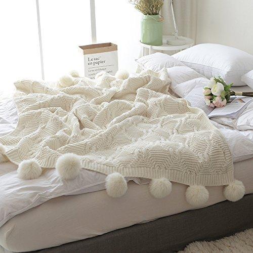 ZHIMIAN Acrylic Chenille Pompoms Fringe Throw Blanket...