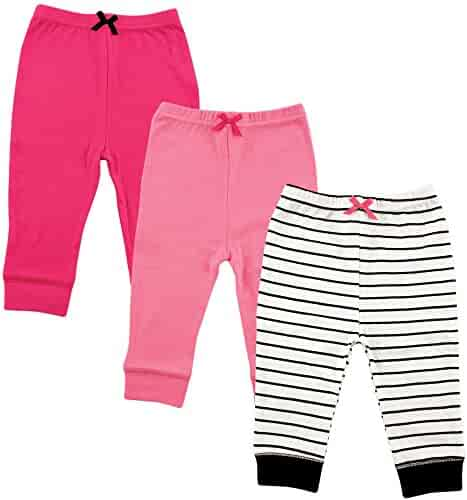 Luvable Friends 3 Pack Tapered Ankle Pants, Girl Black Stripe, 4T