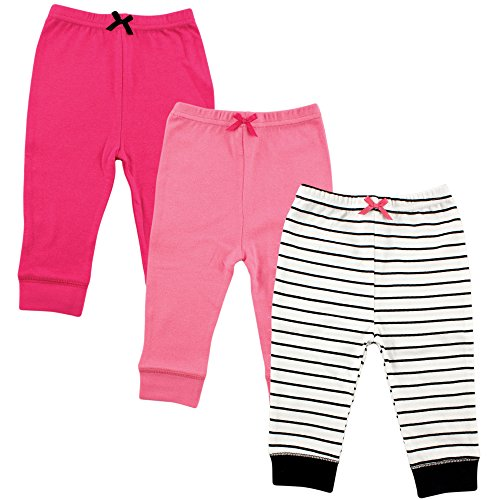 Luvable Friends Baby Cotton Tapered Ankle Pants, Girl Black Stripe 3 Pack, 5 - Pant Girls Stripe