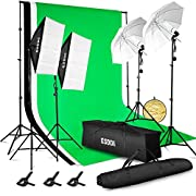 #LightningDeal ESDDI Lighting Kit Adjustable Max Size 2.6Mx3M Background Support System 3 Color Backdrop Fabric Photo Studio Softbox Sets Continuous Umbrella Light Stand with Portable Bag
