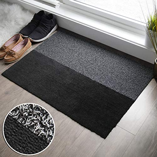 2-in-1 Indoor Outdoor Welcome Mat – Half Absorbent Entryway Rug, Half Shoe Scraper Doormat – Front Door Mats Outside or Inside Use, Anti Slip – Large 24 x 34 inches