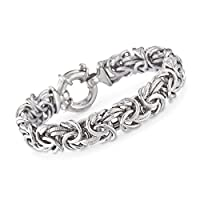Ross-Simons Italian Sterling Silver Textured and Polished Byzantine Bracelet