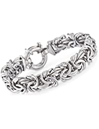 Italian Sterling Silver Textured and Polished Byzantine Bracelet