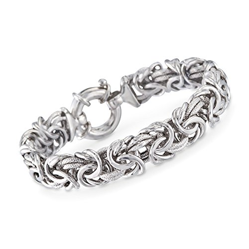 Ross-Simons Italian Sterling Silver Textured and Polished Byzantine Bracelet -