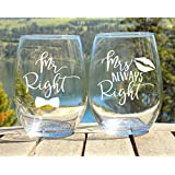 Mr Right Mrs Always Right Etched Stemless Wine Glasses Set, Mr and Mrs Wine Glasses