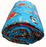 Mango Gifts Turquoise Premium Quality Quilt, Cotton India Bedspread, Made By Artisans of India, Size- 82'' X 110'' Inches