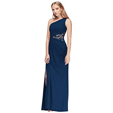 64687c5a951f4 Extra Length One-Shoulder Mesh Bridesmaid Dress with Side Lace Inset Style.