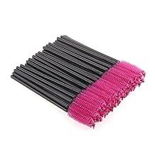 YESURPRISE 100 PCS Disposable Eyelash Brush Mascara Wands Applicator Spoolers Makeup Tool Hot Pink