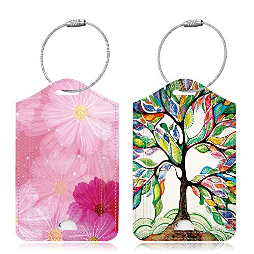 Famavala 2x Luggage Tags [Labels w/Privacy Cover] for Travel Bag Suitcase (LuckyTree+LoveFlower)