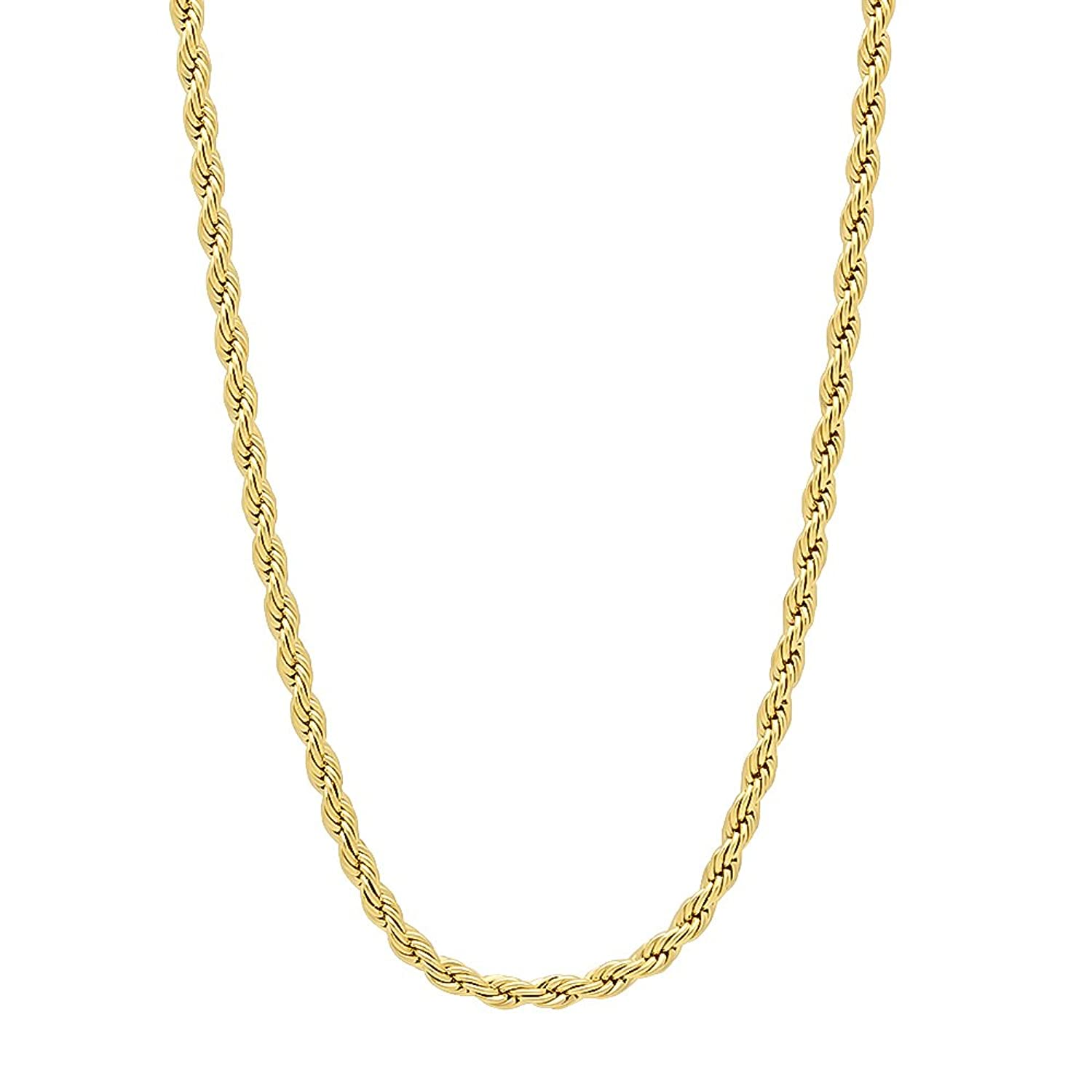 14k Gold Plated or Rhodium Plated Rope Chain or Bracelet - Your Choice of Color -> Width -> Length
