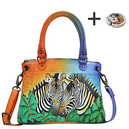 Anna By Anuschka Satchel Handbag & Purse Holder (Medium Zebra Safari)