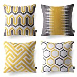 Phantoscope Set of 4 Decorative Embroidery Series 100% Cotton Ring Throw Pillow Covers Pillowcase Cushion Cover 18