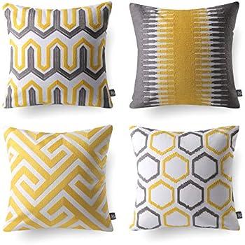 Amazon.com: ACCENTHOME Square Printed Cotton Cushion Cover ...