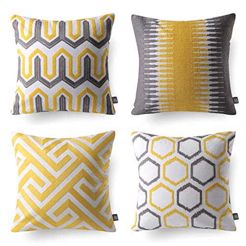 (Phantoscope Set of 4 Decorative Embroidery Series 100% Cotton Ring Throw Pillow Covers Pillowcase Cushion Cover 18