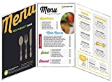 MenuCoverMan • Case of 24 Menu Covers • 8.5'' Wide x 14'' Tall • 100% USA-MADE Commercial Quality • Fold-Out Style Side Open 3 Pocket - 6 View. All Clear Virgin Vinyl Heat Sealed Edges ACV-300-8.5X14