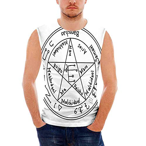 Mens Casual Sleeveless Crew Summer Occult Decor Printing Tank Top Vest  Blouse,