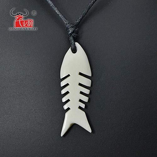 Davitu 1PC Hawaiian Handmade Carved Yak Bone Pendant Choker Womans Mans Fishbone Necklace Lovers Jewelry Gift Tribal Surfer Style