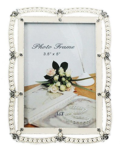L&T Pearl Picture Frame Metal with Silver Plated, White Enamelled and Crystals, for 3.5x5 Inch - 5 Crystal Photo Inch