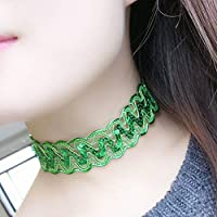 Hunputa Choker Sequins Lace Stretch Gothic Tattoo Henna Necklace (Green)