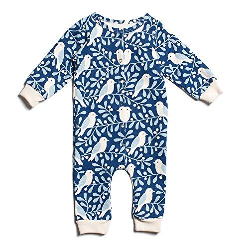 Winter Water Factory Organic Cotton Long Sleeve Jumpsuit, Baby Boys, Girls & Unisex (12M (6-12 Months), Navy & Winter Blue Birds & Berries)