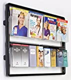 "Magazine Holders 38-1/2""w x 29-7/8""h x 5""d Black Metal Rails and Clear Front Acrylic Pockets Wall Mount Literature Displays – Brochure Racks Have Eight Pockets to Organize Advertisements"