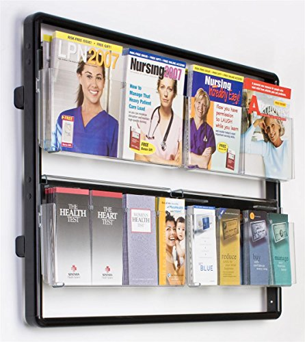 "Magazine Holders 38-1/2""w x 29-7/8""h x 5""d Black Metal Rails and Clear Front Acrylic Pockets Wall Mount Literature Displays – Brochure Racks Have Eight Pockets to Organize Advertisements by Displays2go"