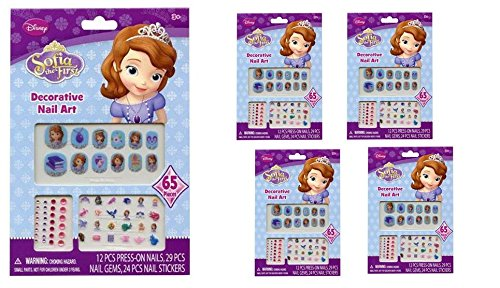 Sofia the First 65 pcs Decorative Nail Art Nail Stickers and Gems x 4 Packs ()