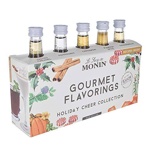 Monin - 5 Flavor Holiday Cheer Collection: Salted Caramel, Peppermint, Cinnamon, Pumpkin Spice, and Gingerbread, Natural Flavors, Great for All Drinks, Vegan, Non-GMO, Gluten-Free (1.7 oz per ()