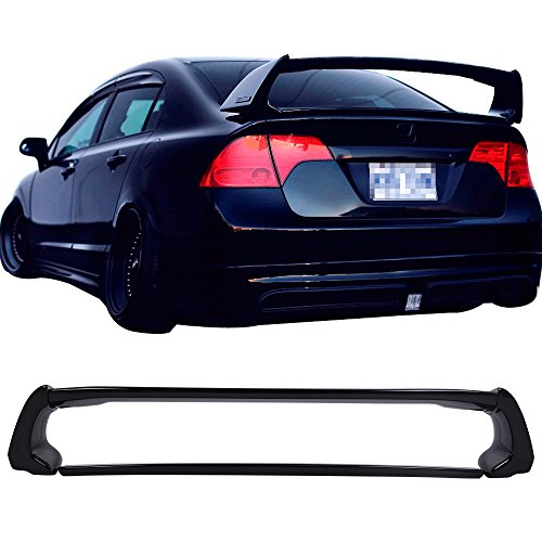Pre-painted Trunk Spoiler Fits 2006-2011 Honda Civic | ABS Painted Crystal Black Pearl #NH731P Trunk Boot Lip Wing Deck Lid Other Color Available By IKON MOTORSPORTS | 2007 2008 2009 - Crystal 4dr Honda Civic