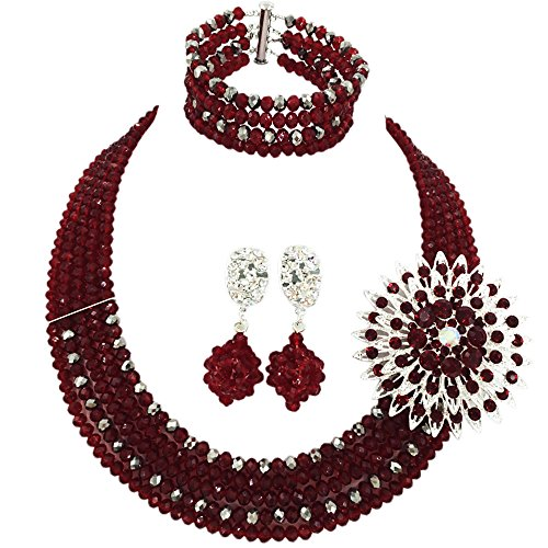 aczuv 5 Rows Nigerian Beaded Jewelry Set Women African Wedding Beads Crystal Necklace and Earrings (Wine and Silver Plated)