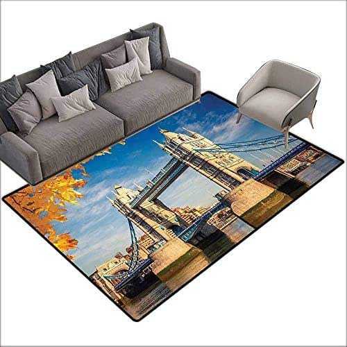 Inner Door Rug London Historical Construction Tower Bridge with Mossy Abutments Autumnal Leaves Easy to Clean W6'7 x L9'10 Yellow Blue Ivory