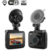 Dash Cam Car DVR Dashboard Camera Recorder with Built-In WiFi & GPS, 4K FHD, APP Support, G-Sensor, 2.4 LCD, 150 Degree Wide-Angle Lens, Loop Recording, Great Night Vision, Parking Monitor