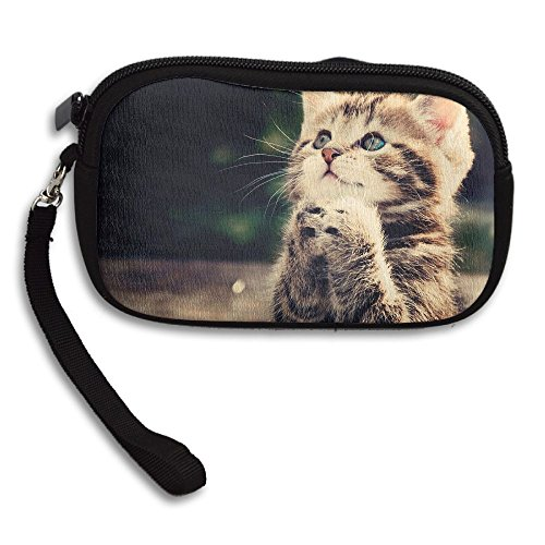 Womens Small Wallet Funny Cat Praying Pattern Zipper Card Purse Phone Case Holder Wallets With Chain Mini Coin Pouch]()
