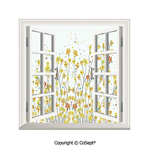 SCOXIXI Removable Wall Sticker,Floral Banner Daffodils Botanical Blooming Spring Gardening Flourishing Design,Window Sticker Can Decorate A Room(25.86x22.63 inch)