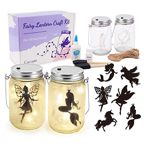 Fairy Lantern Craft Kit, Decorative Hanging Mason Jar with String Lights, Arts and Crafts Ideas for Girls, Best Creative Activities for Birthday Party and School (Tinkerbell Arts And Crafts)