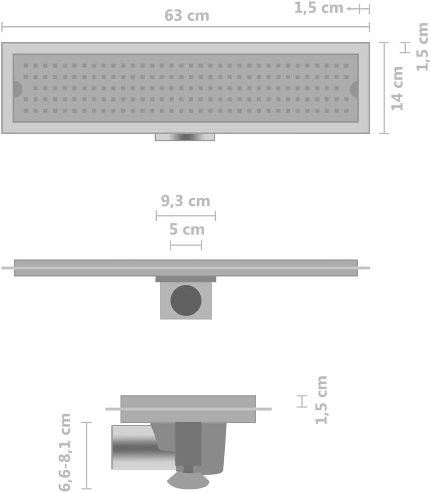 vidaXL Duschablauf mit h/öhenverstellbaren Beinen Duschrinne Bodenablauf Ablaufrinne Abflussrinne Boden Ablauf Rinne Bad 63x14cm Edelstahl