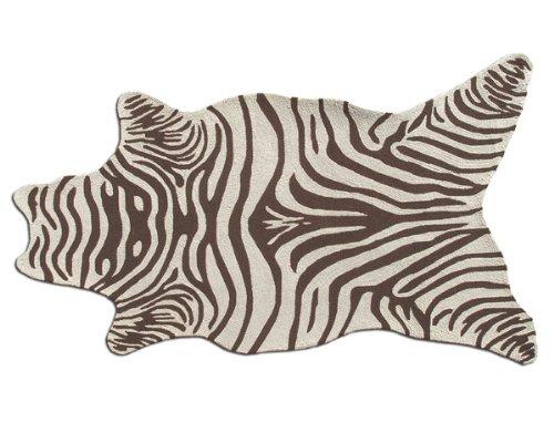 (The Rug Market 25255D Handmade Rugs, Zebra Brown Shaped, Multicolor)