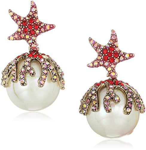 Betsey Johnson Women s Starfish Pearl Drop Earrings
