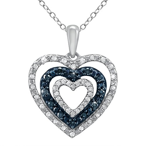Store Indya Sterling Silver Necklace Charm Blue and White Diamonds in a Heart Shaped Pendant